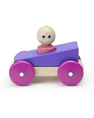 Tegu Magnetic Wooden Racer, Purple - Safe and Funny! Wooden Toy Cars, Trains & Trucks