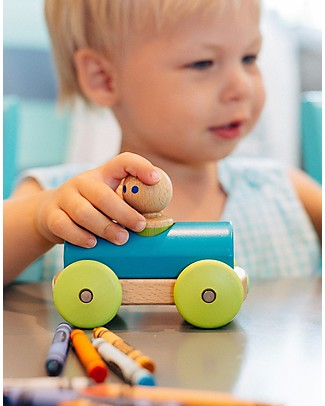 Tegu Magnetic Wooden Racer, Teal - Safe and Funny! Wooden Toy Cars, Trains & Trucks