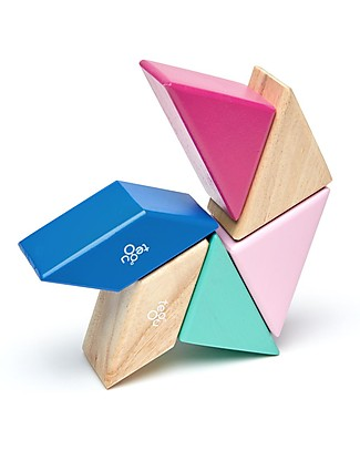 Tegu Prism Pocket Pouch in Blossom, 6 Magnetic Wooden Blocks - Eco-Friendly Wooden Blocks & Construction Sets