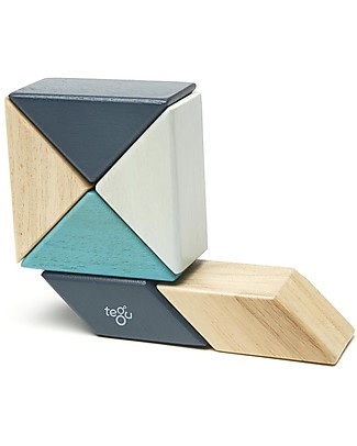 Tegu Prism Pocket Pouch in Blues, 6 Magnetic Wooden Blocks - Eco-Friendly Wooden Blocks & Construction Sets