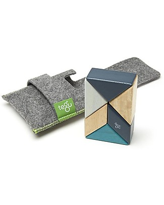 Tegu Prism Pocket Pouch in Blues, 8 Magnetic Wooden Blocks - Eco-Friendly Wooden Blocks & Construction Sets