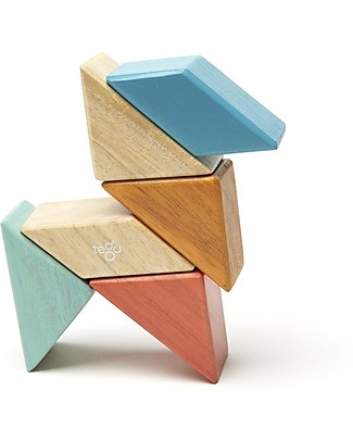 Tegu Prism Pocket Pouch in Sunset, 6 Magnetic Wooden Blocks - Eco-Friendly Wooden Blocks & Construction Sets