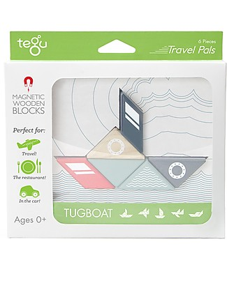 Tegu Tougboat Travel Pal, Magnetic Wooden Blocks - Eco-Friendly and Safe! Wooden Blocks & Construction Sets
