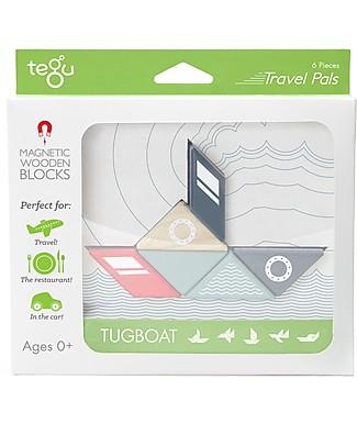 Tegu Tougboat Travel Pal, Magnetic Wooden Blocks - Eco-Friendly and Safe! Wooden Blocks & Construction Sets