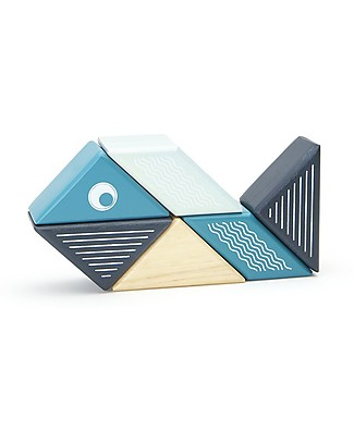 Tegu Whale Travel Pal, Magnetic Wooden Blocks - Eco-Friendly and Safe! Wooden Blocks & Construction Sets