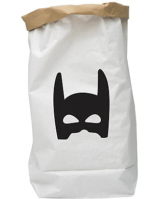 Tellkiddo Toy Bag, Black SuperHero, Recycled Paper Toy Storage Boxes