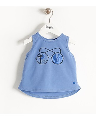 The Bonnie Mob Barrel Sleeveless T-Shirt, Blue  Sunnies - Organic Cotton T-Shirts And Vests