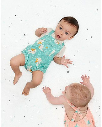 The Bonnie Mob Blake Sleeveless Bodysuit, Aqua Bunny - Organic Cotton Short Sleeves Bodies