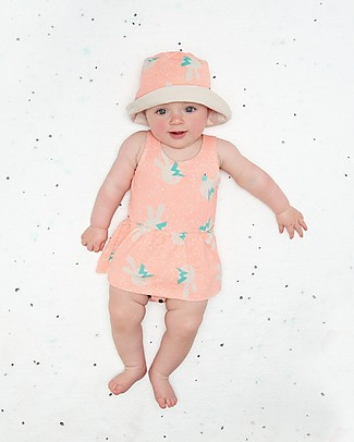 The Bonnie Mob Blink Sleeveless Bodysuit with Integral Skirt, Neon Bunny - Organic Cotton Short Sleeves Bodies
