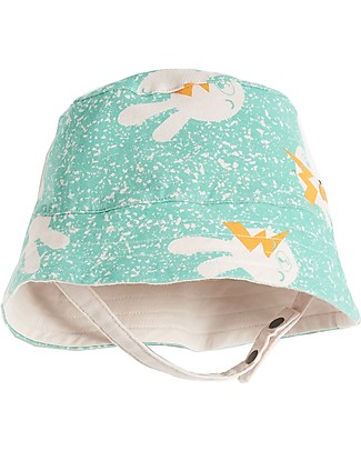 The Bonnie Mob Bowen Reversible Sun Hat, Aqua Bunny - Organic Cotton Sunhats