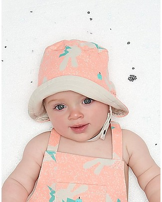 The Bonnie Mob Bowen Reversible Sun Hat, Neon Bunny - Organic Cotton Sunhats