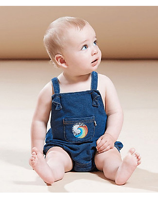 The Bonnie Mob Honolulu Stretch Denim Romper, Blue - 100% cotton Short Rompers