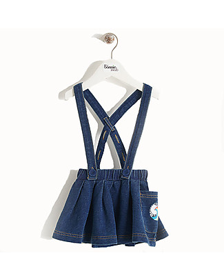 The Bonnie Mob Hula Stretch Denim Flared Skirt with Braces, Blue - 100% Cotton Skirts