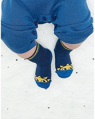 The Bonnie Mob Kelly Sunshine Short Socks, Navy (6-24 months) - Cotton Socks