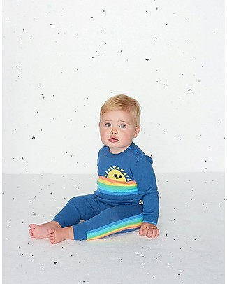 The Bonnie Mob Klee long Sleeve Rainbow Sweater, Navy (18-24 months) - 100% organic cotton Jumpers