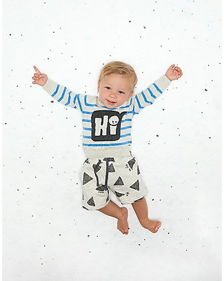 The Bonnie Mob Miyake Comfy Shorts, Grey Sun Ray Print (12-24 months) - Cotton Shorts