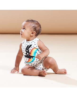 The Bonnie Mob Peaky Sleeveless Romper, Rainbow Surf Bunny - Organic Cotton Short Rompers