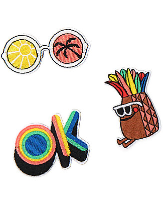 The Bonnie Mob Xander Iron on Badge - Three Patches: OK, Pineapple, Sunnies Gift Set