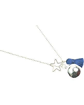 The Good Karma Mexican Bola Gypsy Mamma, Blue - With star and pompom! Necklaces