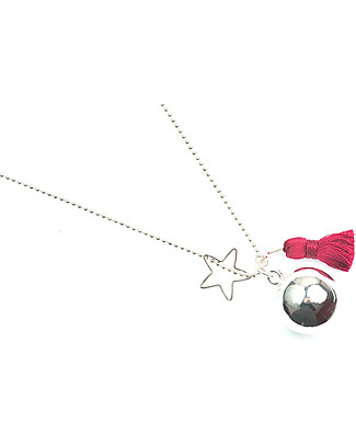 The Good Karma Mexican Bola Gypsy Mamma, Red - With star and pompom! Necklaces