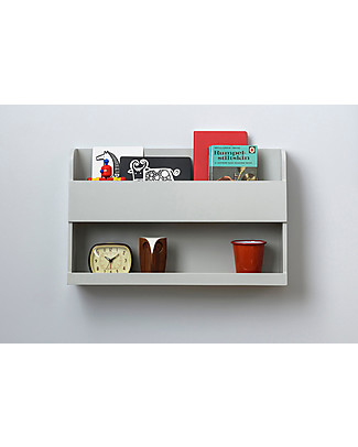 Tidy Books Bunk Bed Buddy Bedside Storage Shelf - 33x53x12cm - Pale Grey Bookcases