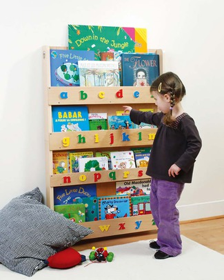 Tidy Books Children's Front Facing Bookcase with 3D Alphabet - Natural Capital Letters Bookcases