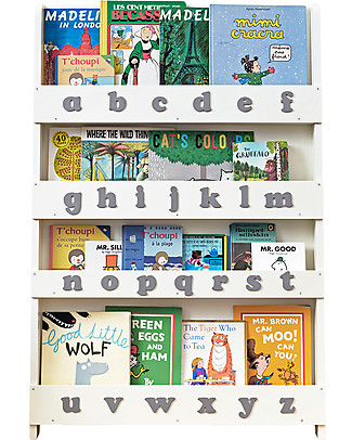 Tidy Books Children's Front Facing Bookcase with 3D Alphabet - Soft White, Lowercase Bookcases