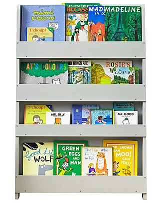 Tidy Books Children's Front Facing Montessori Wood Bookcase - Pale Grey Bookcases