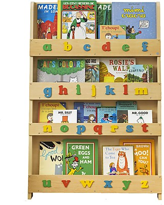 Tidy Books Children's Front Facing Montessori Wood Bookcase with 3D Alphabet - Natural Lowercase Bookcases