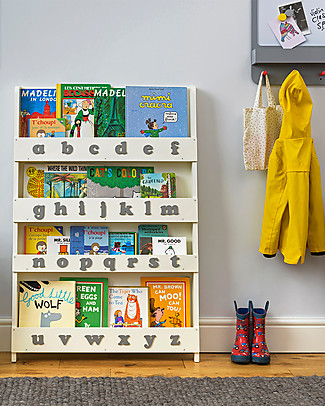 Tidy Books Children's Front Facing Montessori Wood Bookcase with 3D Alphabet - Soft White, Lowercase Bookcases
