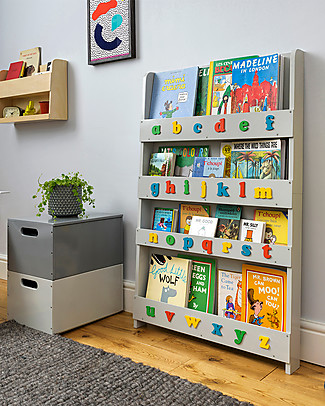 Tidy Books Children's Front Facing Wood Bookcase with 3D Alphabet - Pale Grey, Lowercase Bookcases