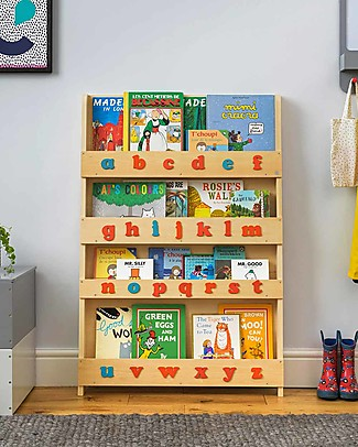 Tidy Books Children's Front Facing Wood Bookcase with Montessori 3D Alphabet - Natural, Lowercase Bookcases