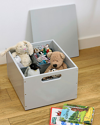 Tidy Books Sorting Box, Toys Wooden Box, Pale Grey - 40 x 30 x 24 cm Bookcases