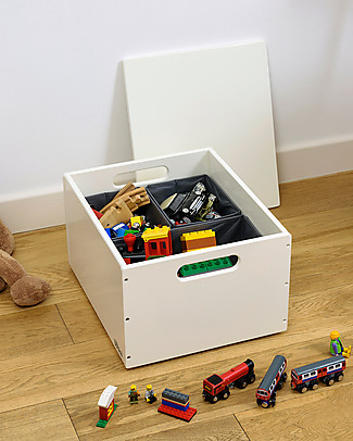 Tidy Books Sorting Box, Toys Wooden Box, Soft White - 40 x 30 x 24 cm Toy Storage Boxes