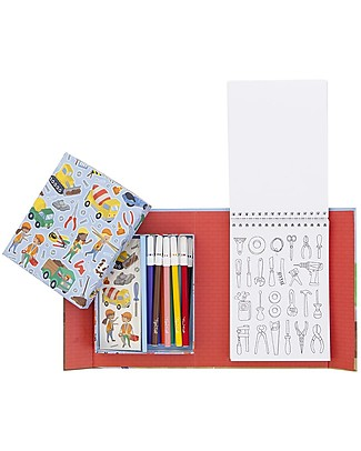 Tiger Tribe Colouring Set, Construction - Includes booklet, markers and stickers! Colouring Activities