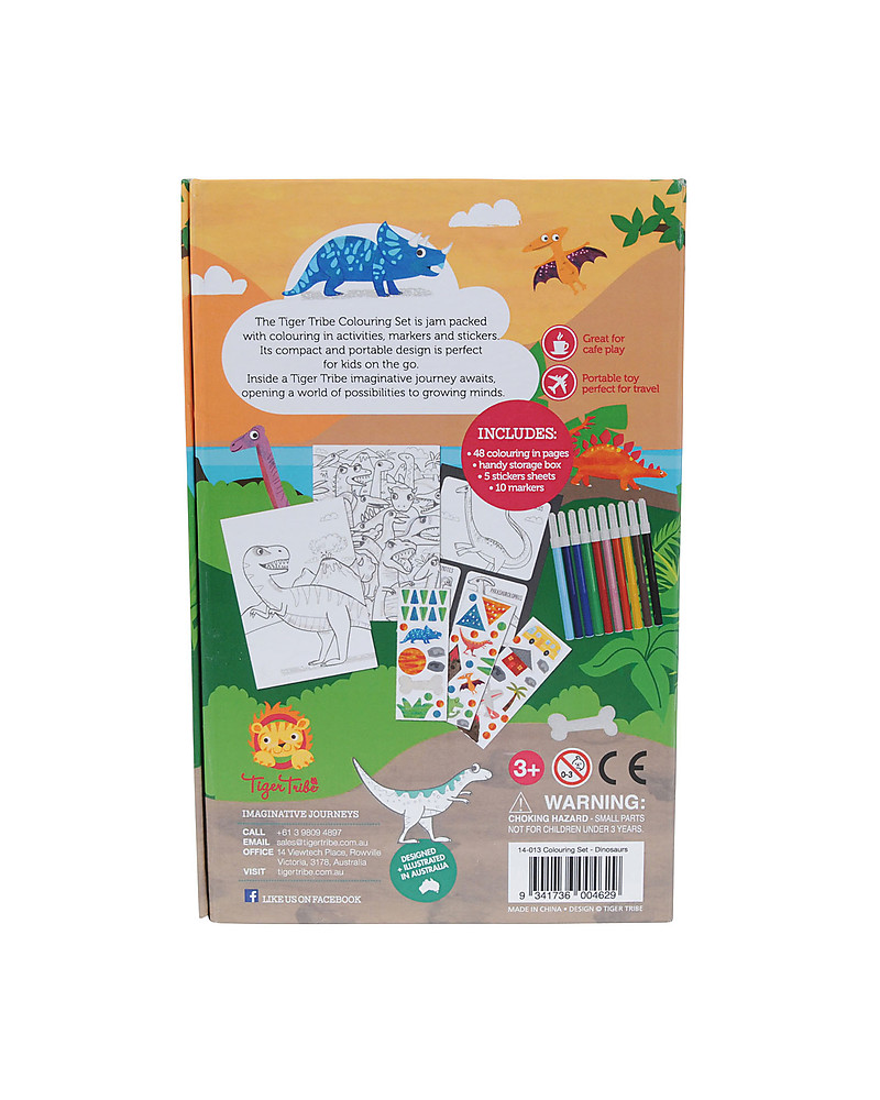 Stickers Per Bambini.Tiger Tribe Colouring Set Dinosaurs Includes Booklet
