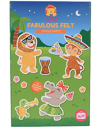 Tiger Tribe Fabulous Felt Toy Set, Jungle Party - 80 felt figures to have fun on the move! Creative Toys