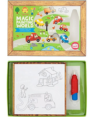 Tiger Tribe Magic Painting World, Things That Go - 4 drawings to discover with the included water-brush! Colouring Activities
