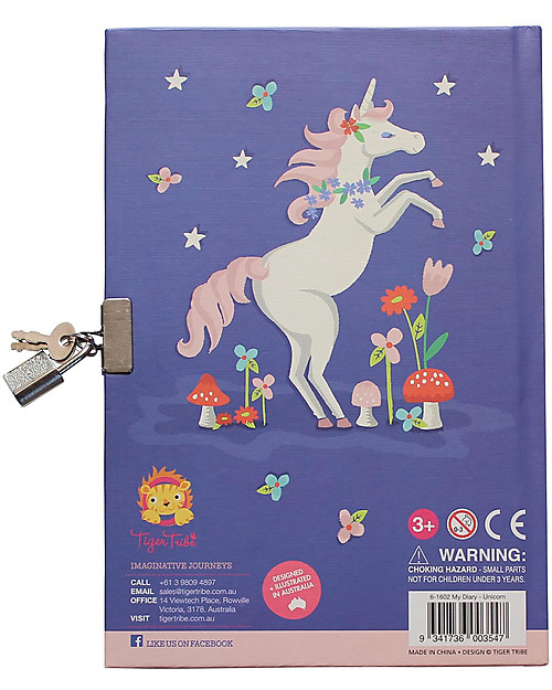 Tiger Tribe My Diary, Unicorn and Rainbow - with included Padlock! Diaries