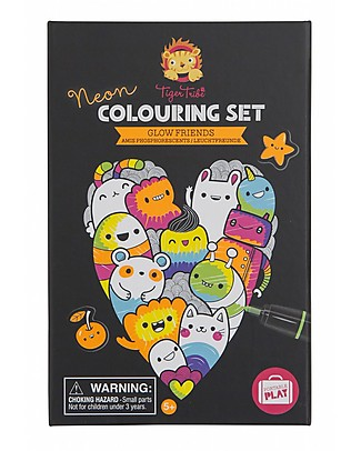 Tiger Tribe Neon Colouring Set, Glow Friends - To Tell Stories! Colouring Activities
