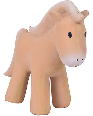 Tikiri 3-in-1 Rattle, Teether, Bath Toy - Horse, My First Farm - 100% Natural Rubber Rattles