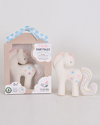 Tikiri Cotton Candy Unicorn - Natural Rubber and Organic Cotton Rattles