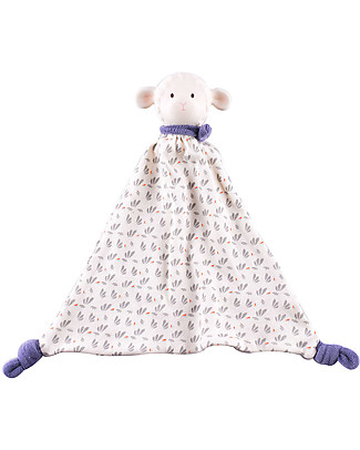 Tikiri DouDou Lamb Lucas, Blue - Natural Rubber and Organic Cotton Doudou & Comforters