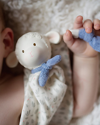 Tikiri DouDou Lamb Lucas, Blue - Natural Rubber and Organic Cotton Doudou & Comforters