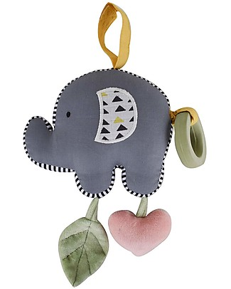 Tikiri Elephant Vibrator Toy with Rubber Teether - Organic Cotton Stroller Accessories