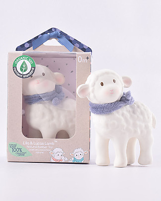 Tikiri Lamb Lucas, Blue - Natural Rubber and Organic Cotton Puppets