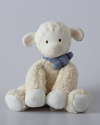 Tikiri Puppet Lamb Lucas, Blue - Natural Rubber and Organic Cotton Puppets