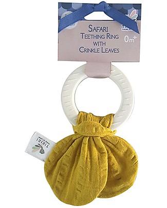 Tikiri Safari Teething Ring, Yellow - Natural Rubber and Organic Cotton Teethers