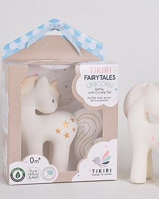 Tikiri Shining Stars Unicorn - Natural Rubber and Organic Cotton Rattles