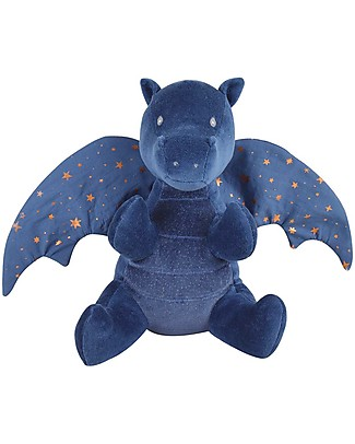 Tikiri Soft Organic Cotton Midnight Dragon, Fairytales - 23 cm - Crickle Wings! Soft Toys